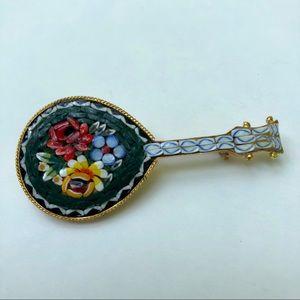 Mini mosaic guitar vintage brooch pin